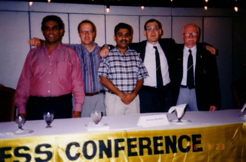 Image of five delegates, I'm fourth from the left, with Peter Donovan, Australia, on my left.